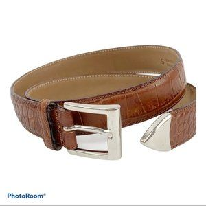 Talbots Brown Croc Embossed Leather Belt S